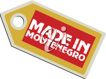 vector illustration of label with flag of Montenegro