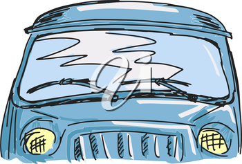 Royalty Free Clipart Image of a Sketch of a Van