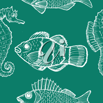 sample of seamless background with underwater life
