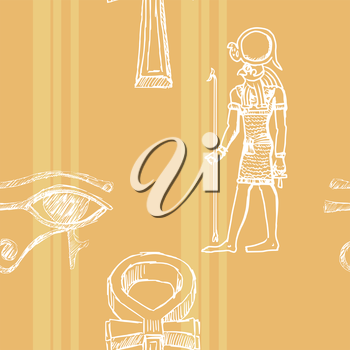 sample of seamless background with motive of ancient Egypt