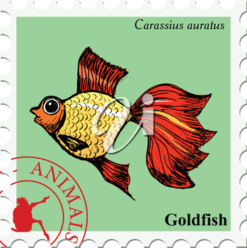 vector, post stamp with goldfish, underwater motive