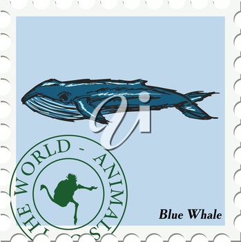 vector, post stamp with blue whale