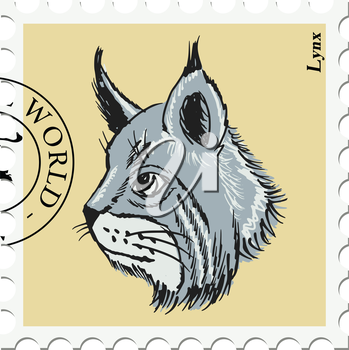 vector, post stamp with lynx