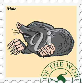 vector, post stamp with mole