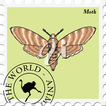 vector, post stamp with moth