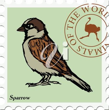 vector, post stamp with sparrow