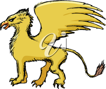 vector, coloured, sketch, hand drawn image of griffin