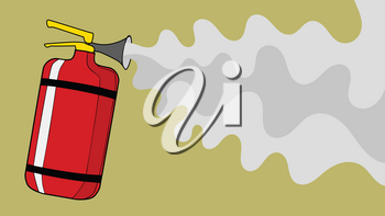 Extinguisher from which foam extinguishes fire. Concept of accident, fire, danger, protect, rescue, firefighting. Technology and safety object. Vector, cartoon illustration
