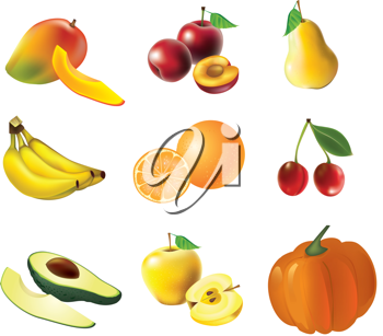 Royalty Free Clipart Image of a Selection of Fruit and Vegetables