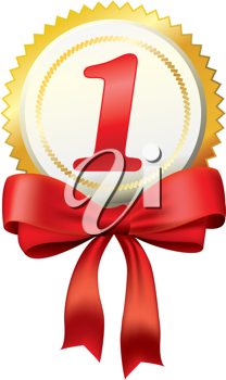 Royalty Free Clipart Image of a Gold Ribbon
