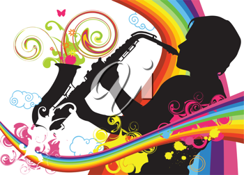 Royalty Free Clipart Image of a Man Playing the Saxophone