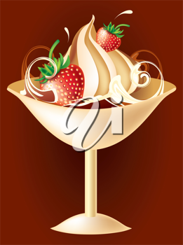 Royalty Free Clipart Image of Ice Cream and Strawberries