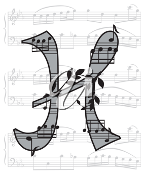 Royalty Free Clipart Image of a Musical Letter