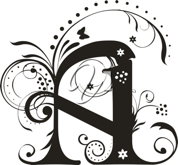 Royalty Free Clipart Image of a Decorative Letter