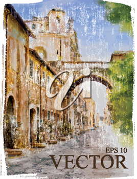 Royalty Free Clipart Image of a Watercolour of a City Street
