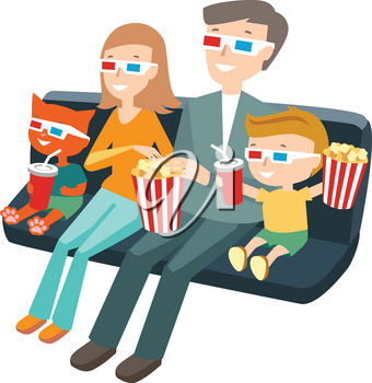 Family Sitting in the Cinema and Watching a Movie. Colorful Vector Illustration