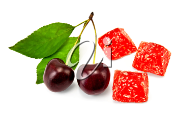 Three red jelly with two cherries and green leaves isolated on white background