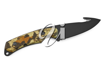 Hunting knife with black blade and a protective pattern on the handle isolated on white background