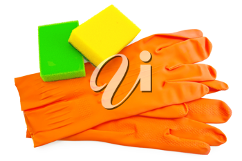 Orange rubber gloves, two sponges of green and yellow colors isolated on white background