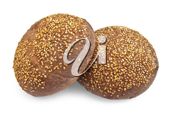 Two round rye rolls with sesame seeds isolated on a white background