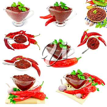 Set photos of Tabasco adjika in a glass gravy boat, pottery, plate, hot peppers, isolated on white background