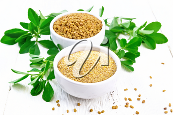 Fenugreek seeds and ground spice in two bowls and on a table with green leaves on background of light wooden board