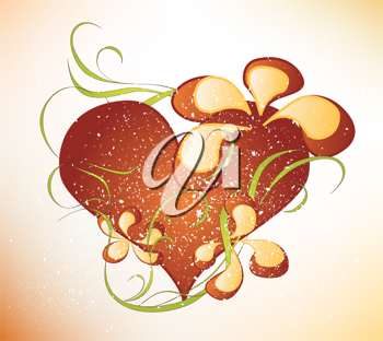 Royalty Free Clipart Image of a Heart With Flowers