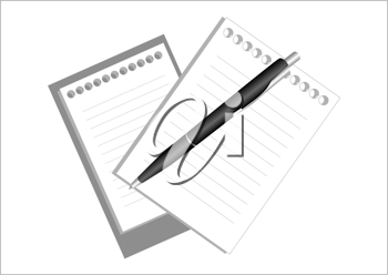 Royalty Free Clipart Image of a Pen and Notepads