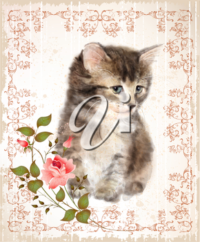Vintage card with fluffy kitten and rose. Imitation of watercolor painting.