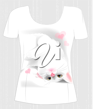 t-shirt design  with playful white cat and hearts. Design for women's t-shirt. Present for Valentines day