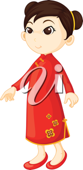 Royalty Free Clipart Image of a Chinese Girl