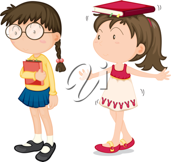 Royalty Free Clipart Image of a Girl With a Book on Her Head and a Girl Holding a Book
