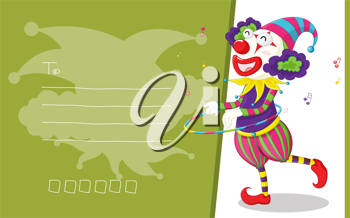 Royalty Free Clipart Image of a Clown With Hoops