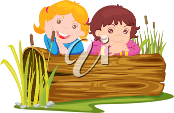 Royalty Free Clipart Image of Two Children at a Log