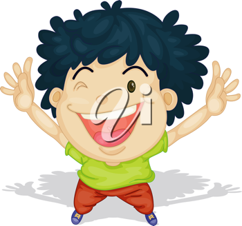 Royalty Free Clipart Image of a Happy Boy