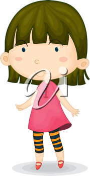 Royalty Free Clipart Image of a Girl in Striped Tights and a Pink Dress