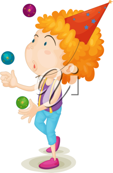 Royalty Free Clipart Image of a Boy Juggling