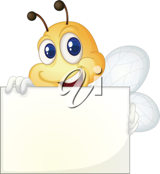 Cute bee holding a white sign