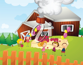 Illustration of kids having a party on a farm