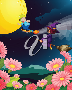 illustration of a boy and witch flying in the night