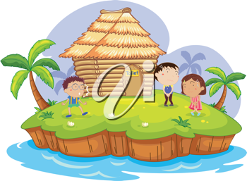 illustration of  kids waiting for a toilet