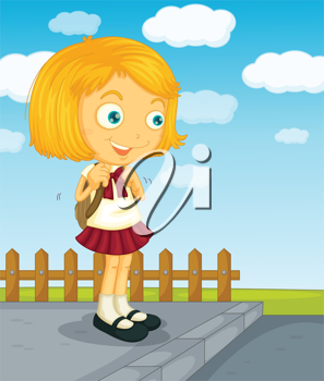Illustration of a young girl going to school