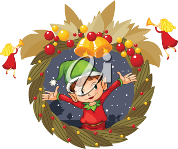 Illustration of  a christmas wreath