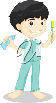 Illustration of boy brushing teeth