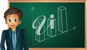 Businessman cartoon presenting on blackboard