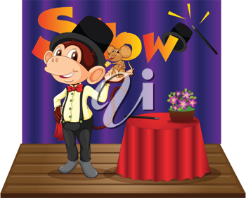 Illustration of a monkey magician on stage
