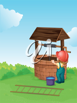 Illustration of a worker at a well