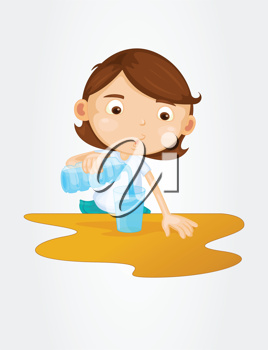 Cute girl pouring water in glass