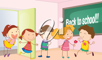 illustration of a kids entering in classroom