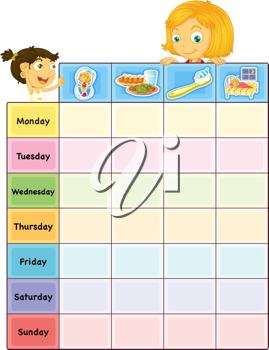 Illustration of a daily routine chart